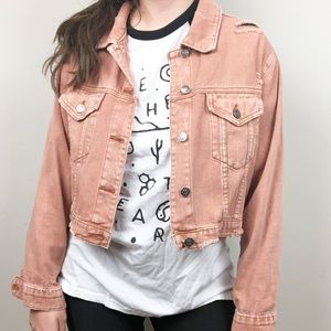 Fab'rik   Pink Distress Cropped Denim Jacket Med